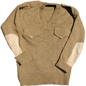 5358c7b0f6e13 What Price Glory - Indian Army Khaki Sweater with Pockets and Epaulets